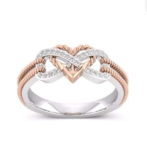New friendship infinity rose gold Cz ring